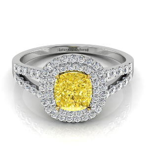 Double Halo Cushion Cut Yellow Diamond Engagement Ring With Split Shank