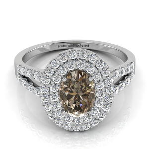 Double Halo Oval Brown Diamond Engagement Ring with Split Shank