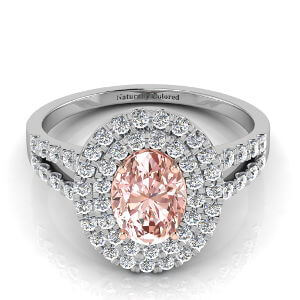 Double Halo Oval Pink Diamond Engagement Ring with Split Shank