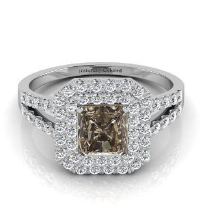 Double Halo Radiant Cut Brown Diamond Engagement Ring With Split Shank