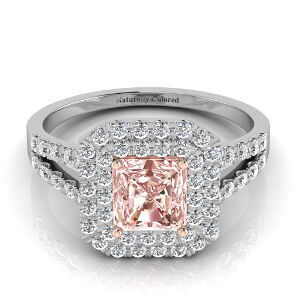Double Halo Radiant Cut Pink Diamond Engagement Ring With Split Shank