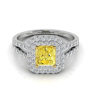Double Halo Radiant Cut Yellow Diamond Engagement Ring With Split Shank