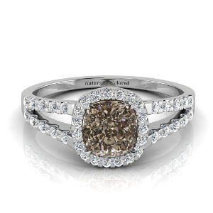Halo Cushion Cut Brown Diamond Engagement Ring with Split Shank