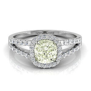 Halo Cushion Cut Green Diamond Engagement Ring with Split Shank