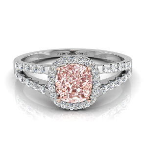 Halo Cushion Cut Pink Diamond Engagement Ring with Split Shank