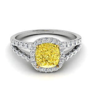 Halo Cushion Cut Yellow Diamond Engagement Ring with Split Shank