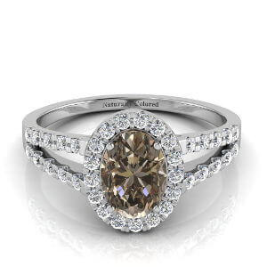 Halo Oval Brown Diamond Engagement Ring with Split Shank