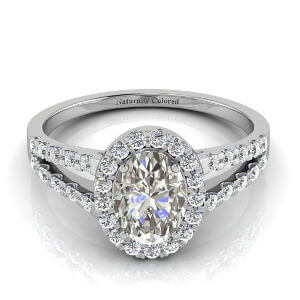 Halo Oval Gray Diamond Engagement Ring with Split Shank