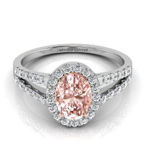 Halo Oval Pink Diamond Engagement Ring with Split Shank
