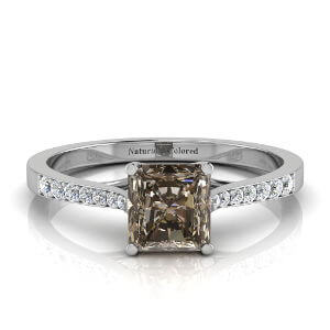 Tapered Channel Setting Solitaire Radiant Cut Brown Diamond Engagement Ring