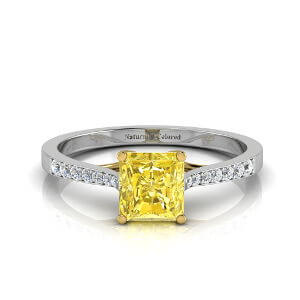 Tapered Channel Setting Solitaire Radiant Cut Yellow Diamond Engagement Ring