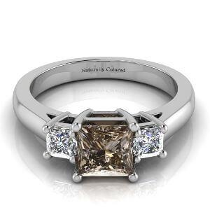 Three Stone Princess Cut Brown Diamond Engagement Ring
