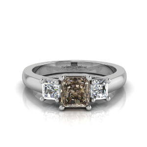 Three Stone Radiant Cut Brown Diamond Engagement Ring