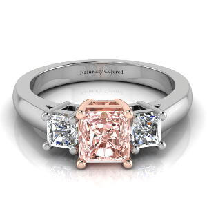 Three Stone Radiant Cut Pink Diamond Engagement Ring