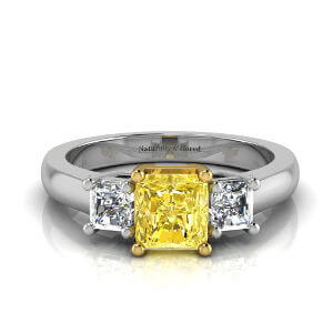 Three Stone Radiant Cut Yellow Diamond Engagement Ring