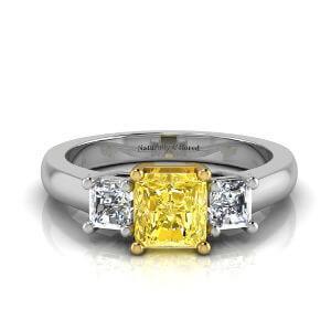 Three Stone Radiant Cut Yellow Diamond Engagement Ring