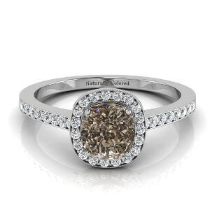 Vintage Halo Cushion Cut Brown Diamond Engagement Ring