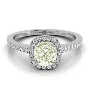Vintage Halo Cushion Cut Green Diamond Engagement Ring