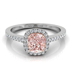 Vintage Halo Cushion Cut Pink Diamond Engagement Ring