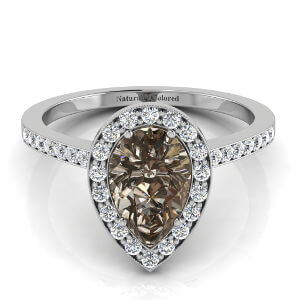 Vintage Halo Pear Shape Brown Diamond Engagement Ring