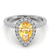 Vintage Halo Pear Shape Orange Diamond Engagement Ring