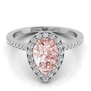 Vintage Halo Pear Shape Pink Diamond Engagement Ring