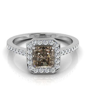 Vintage Halo Radiant Cut Brown Diamond Engagement Ring