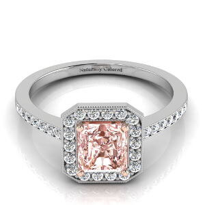 Vintage Halo Radiant Cut Pink Diamond Engagement Ring