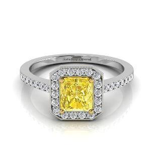 Vintage Halo Radiant Cut Yellow Diamond Engagement Ring